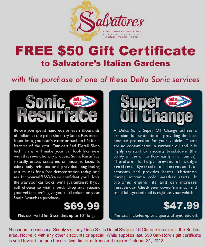 free 50 salvatores gift card w select delta sonic purchase
