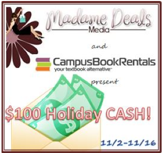 Enter to Win: $100 Paypal Cash or $100 towards Book Rental from Campus Book Rentals **ends 11/16**