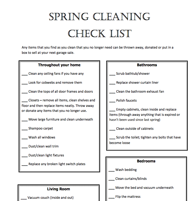 store cleaning checklist