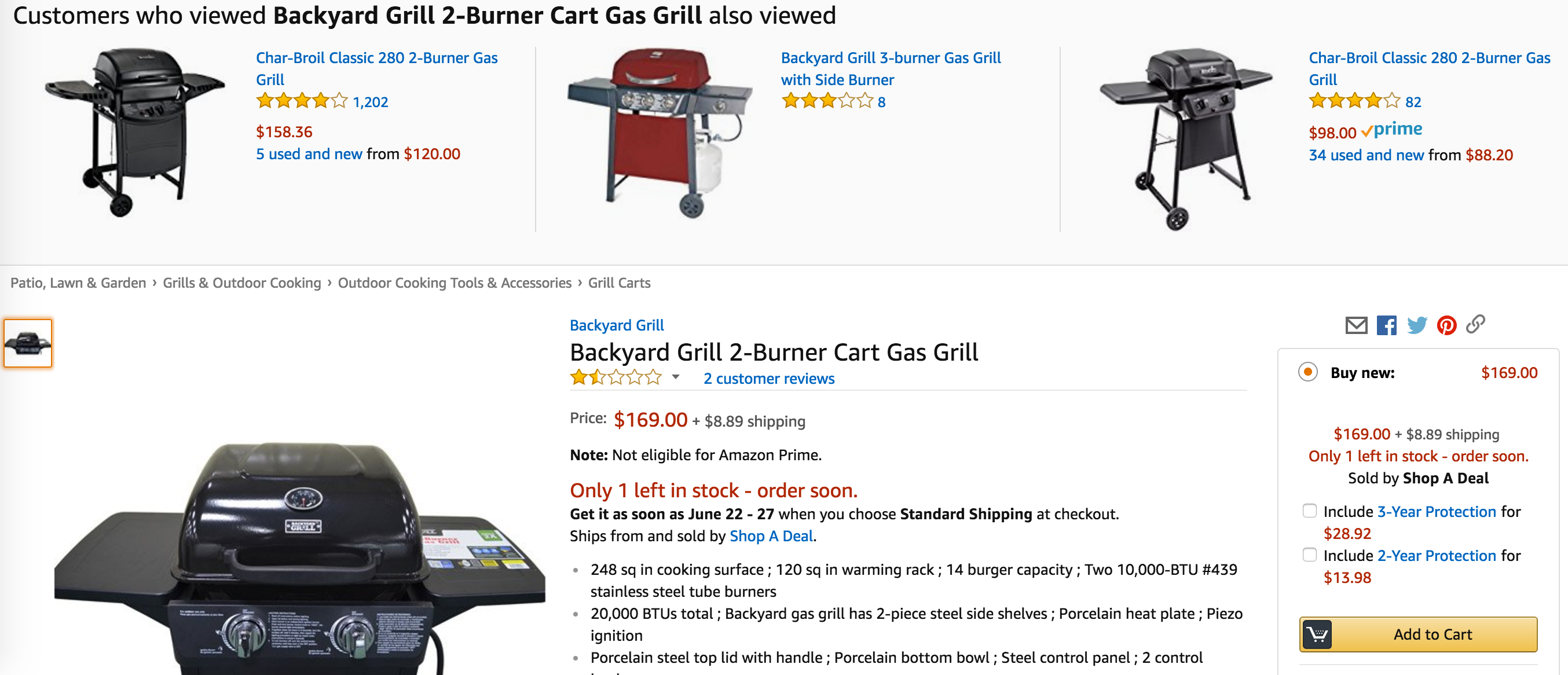 backyard grill 2 burner lp gas grill for 88 00