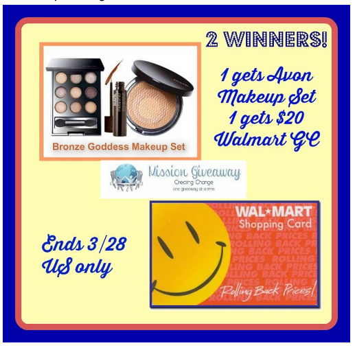 Enter this 3 day Flash Giveaway to #win a $20 Walmart Gift Card & Avon Makeup Set **ends 3/28**