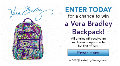 Enter this Giveaway ending July 9 to win a Vera Bradley Backpack plus all  Entrants get b18879b6325eb