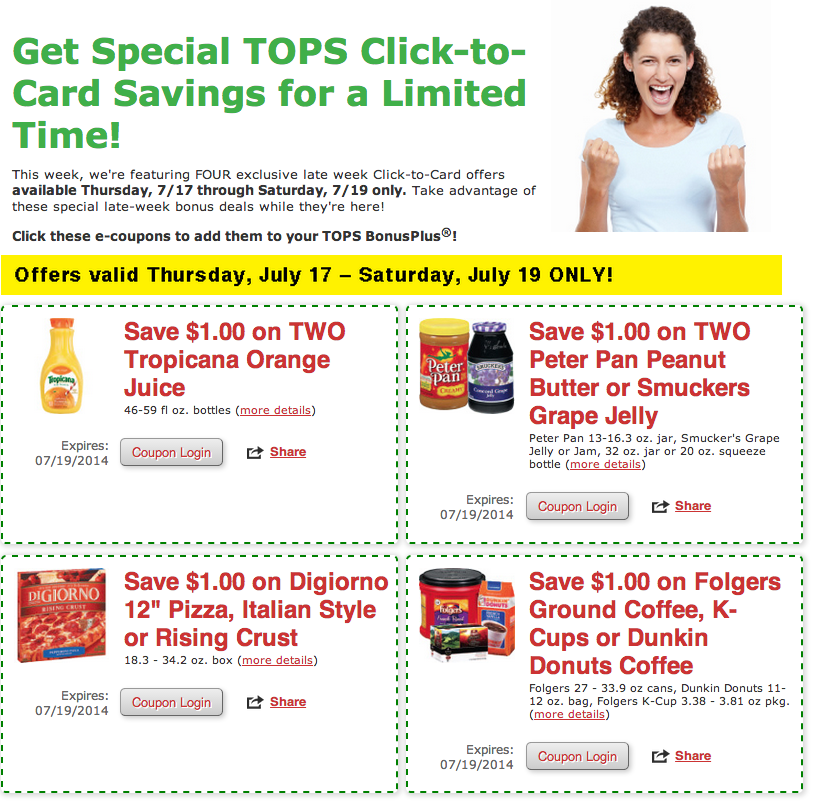 Tops Click to Card coupons