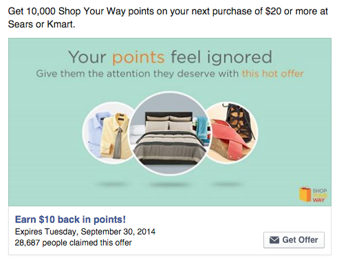 Get 10,000 Shop Your Way points on your next purchase of $20 or more at Sears or Kmart