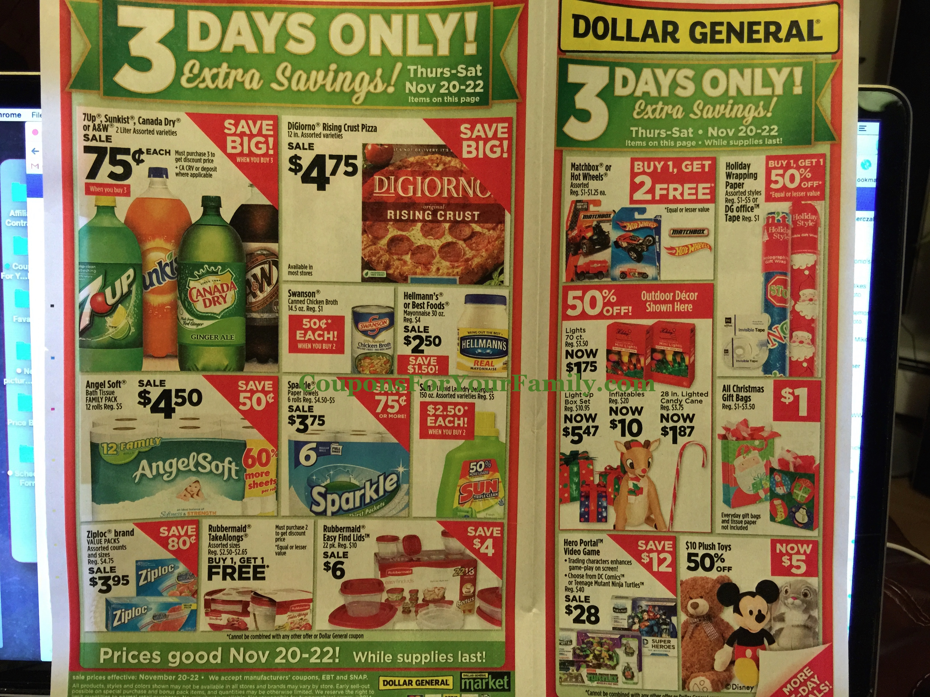 Dollar General Ad Scan Nov 16 plus Free Soda, $.33 Swanson Broth, $.70 Tide Pods Stock up Deal, $1.45 Frenchs Onions and more