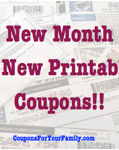 New Monthly Printable Coupons