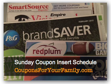 Sunday Coupon Insert Schedule