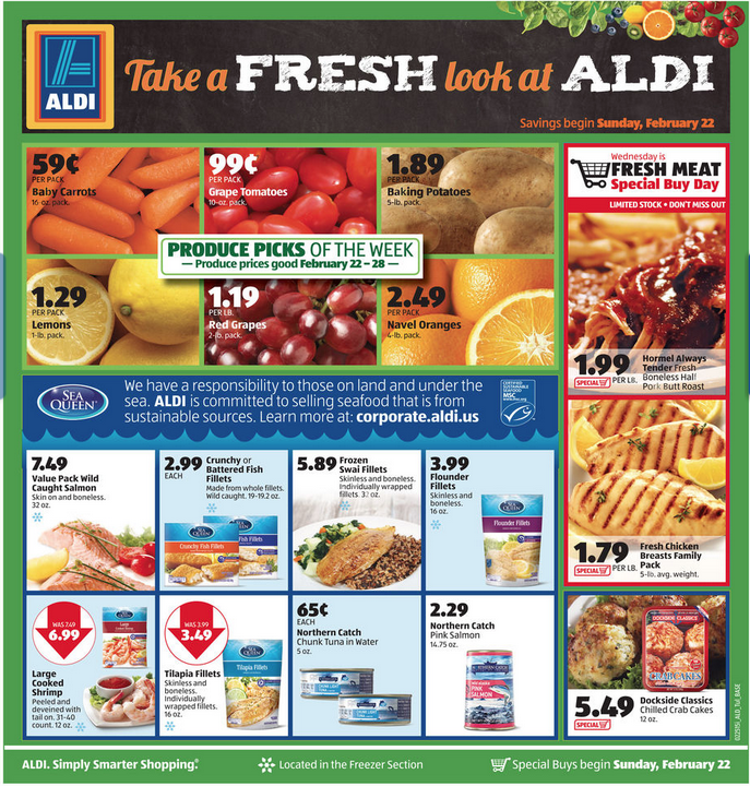 Aldi Ad Scan Feb 22 is live…$.59 carrots, $1.19 Red Grapes and more