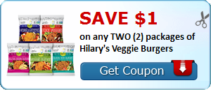 Save $1.00 on any TWO (2) packages of Hilary's Veggie Burgers