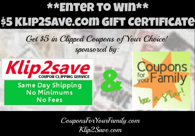 Clipped Coupon Gift Certificate Giveaway