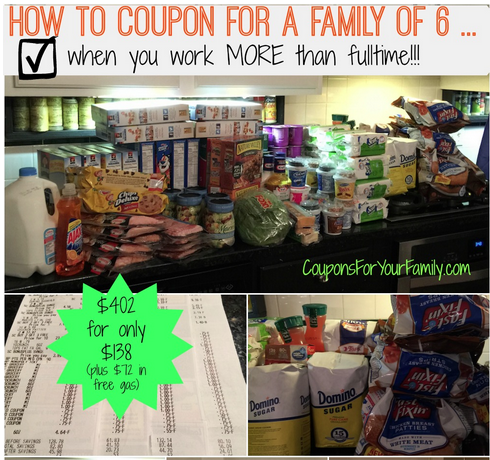 How to Coupon for Family of 6 while working Fulltime: My 2am Shopping Trip –$402.85 for $138.17 with $2.40 in Gas Points!!!