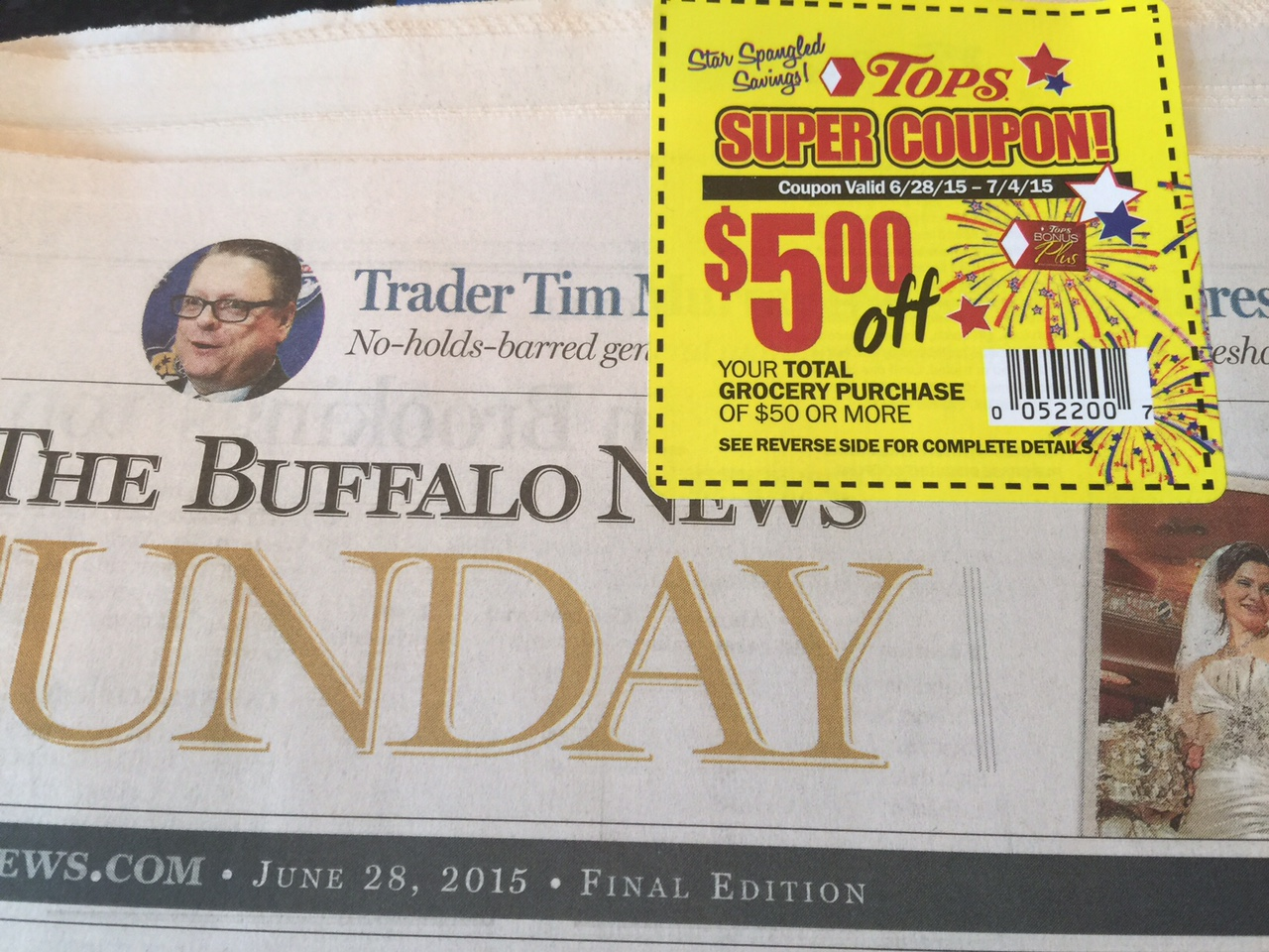 Sunday Coupon Inserts In Buffalo Newspaper June 28 Tops 5 Off 50