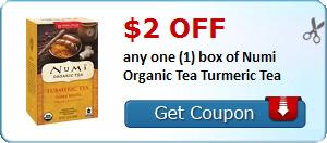 $2.00 off any one (1) box of Numi Organic Tea Turmeric Tea