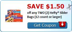 SAVE $1.50 off any TWO (2) Hefty® Slider Bags (12 count or larger)