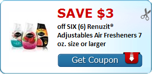 SAVE $3.00 off SIX (6) Renuzit® Adjustables Air Fresheners 7 oz. size or larger