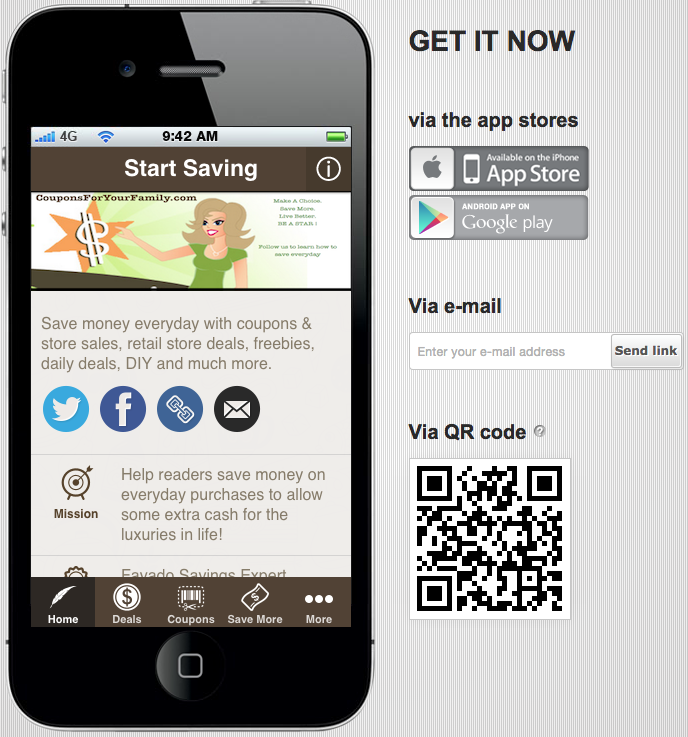 Coupons For Your Family Mobile App