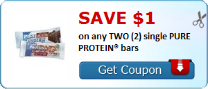 SAVE $1.00 on any TWO (2) single PURE PROTEIN® bars
