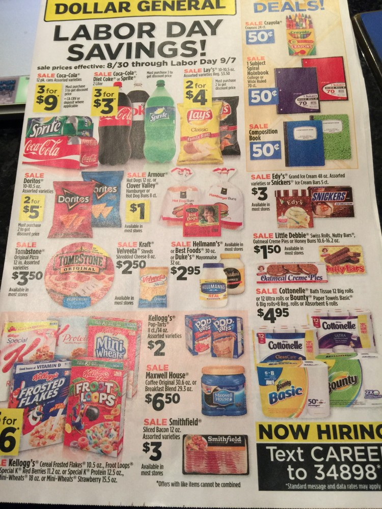 Here is the preview of the Dollar General Ad Scan August 30 and Special Labor Day 2 Day Sale!!