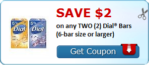 SAVE $2.00 on any TWO (2) Dial® Bars (6-bar size or larger)