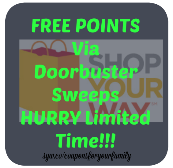 **HURRY*** FREE Shop Your Way Points via Sweeps- get up to $7 for free NOW