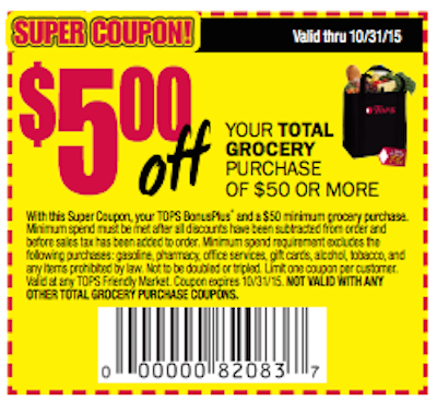 Tops Super Coupn $5 off $50 exp 1031