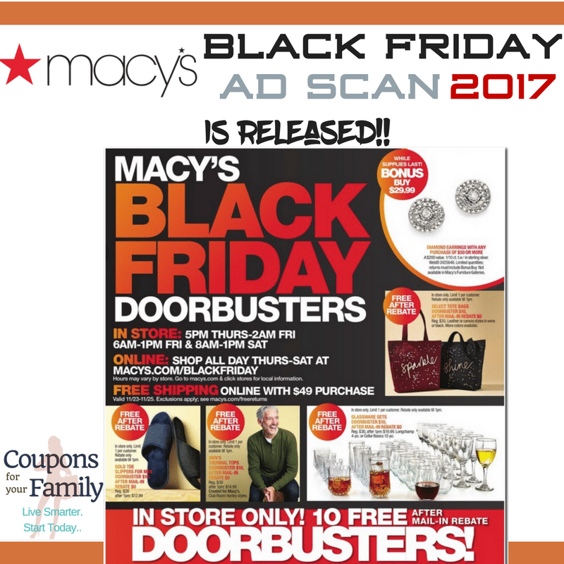 The Macy Black Friday Ad 2017 is released plus promo codes!