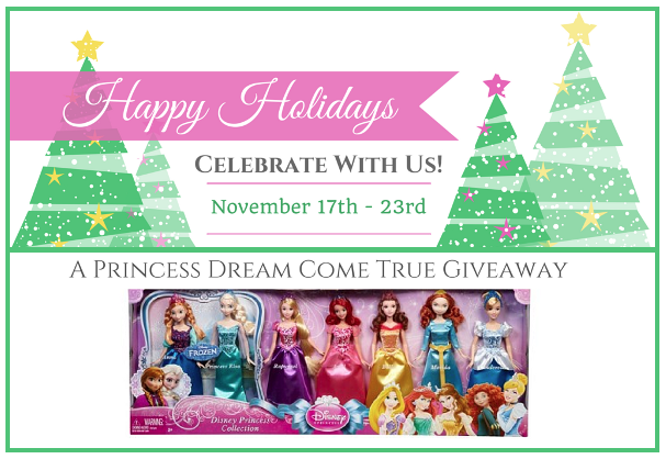 Enter our Happy Holidays Giveaway for a chance to win a Set of 7 Disney Princess Dolls **ends 11/23**