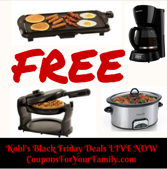 LIVE NOW Kohls Pre Black Friday Deals: GET 3 FREE Small Appliances –hurry before sold out!!!