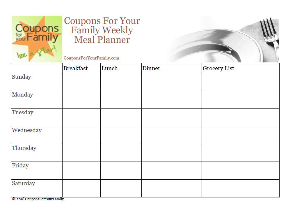 CouponsForYourFamily Menu Planner & Grocery List