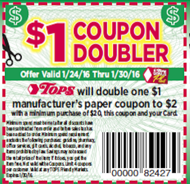 Print your Tops Dollar Doublers Coupons starting Jan 24 here