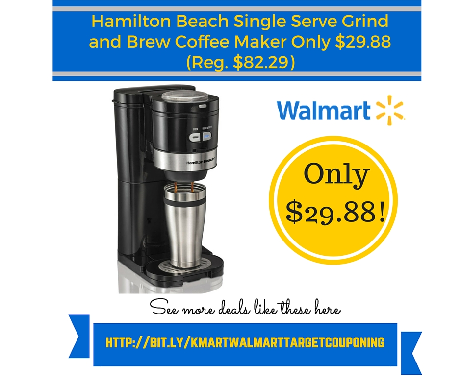 Walmart: Hamilton Beach Single Serve Grind and Brew Coffee Maker Only USD 29.88 (Reg. USD 82.29)