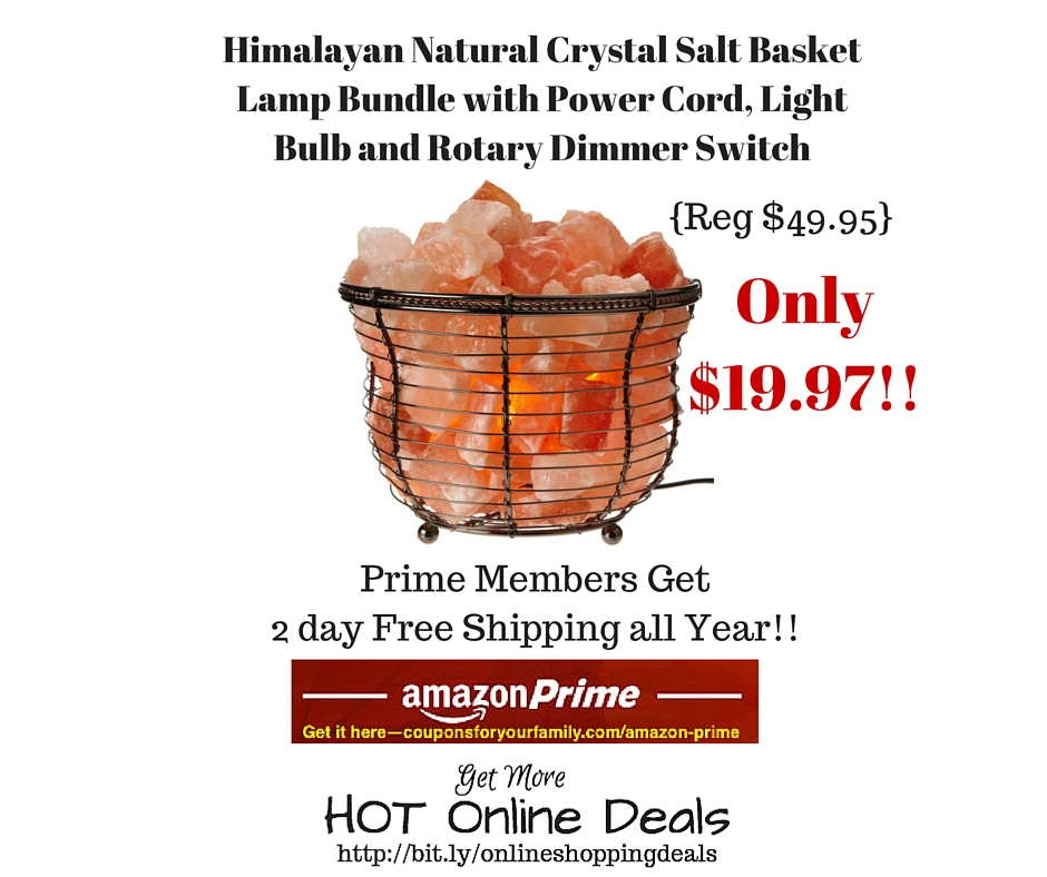 Himalayan Salt Lamp Kmart : Amazon: Himalayan Natural Crystal Salt Basket Lamp Bundle with Power Cord, Light Bulb and Rotary ...