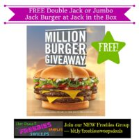 Freebies Offer: FREE Double Jack or Jumbo Jack Burger at Jack in the Box