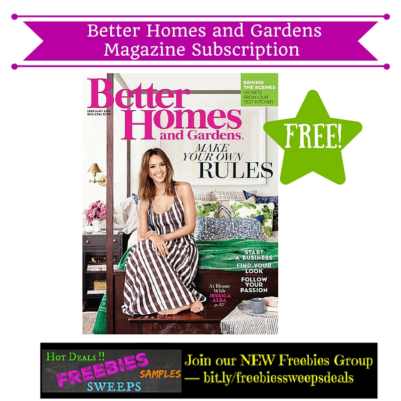 Freebies offer free better homes and gardens magazine for Free home magazines