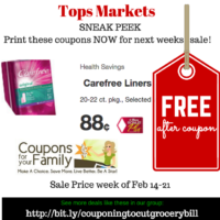 Tops SNEAK PEEK Deal on Carefree Liners starting Feb 14~~ GET THEM FREE ~~ print coupon now!