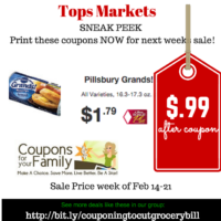 Tops SNEAK PEEK on Pillsbury Grands Biscuits only $.99 -starting Feb 14-  print coupons now