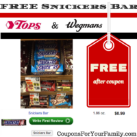 Free Snickers Bars at Tops and Wegmans!!