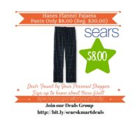 Sears: Hanes Flannel Pajama Pants Only $8.00 (Reg. $30.00)