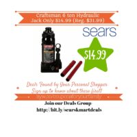 Sears: Craftsman 6 ton Hydraulic Jack Only $14.99 (Reg. $31.99)