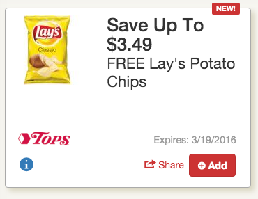 Get free Lays Chips at Tops Markets!!!