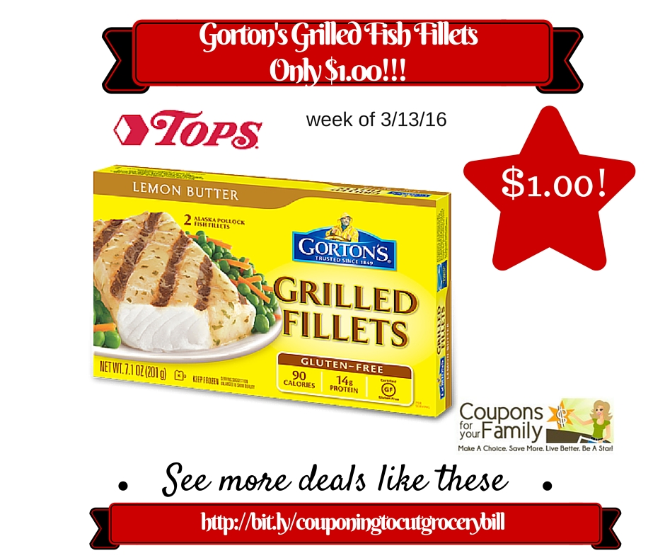 Tops coupon deal gorton 39 s grilled fish fillets only for Gorton s fish coupons
