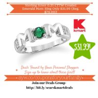 Kmart: Sterling Silver 0.21 CTTW Created Emerald Mom Ring Only $31.99 (Reg. $79.99)