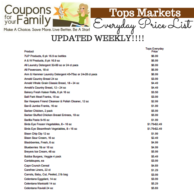 Tops Markets Everyday Price List