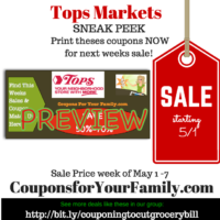 Tops SNEAK PEEK deals starting Sunday May 1: Free Tacos & Tortilla, $.17 Yogurt,  $.67 Libby Fruits, $1.16 alexa Fries and more– PRINT COUPONS TODAY- some ending!!