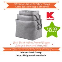 Kmart Retail Deals: Whitmor Set of 3 Fabric Totes Only $15.99 (Reg. $39.99)