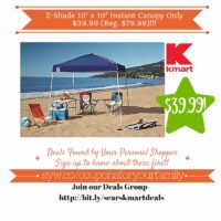 Kmart Retail Deals: Z-Shade 10' x 10' Instant Canopy Only $39.99 (Reg. $79.99)