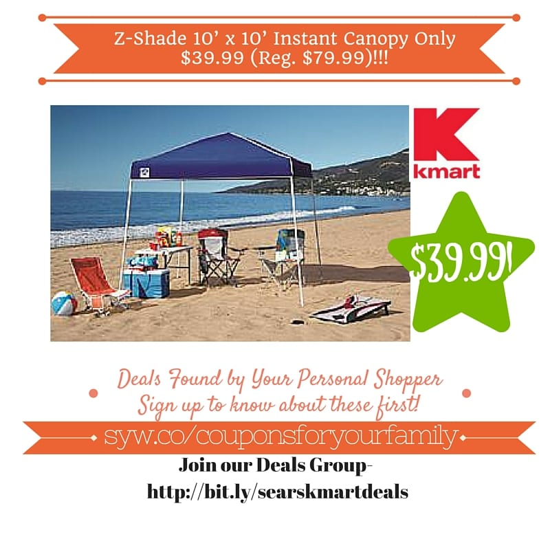 Kmart Retail Deals Z-Shade 10u0027 x 10u0027 Instant Canopy Only $39.99  sc 1 st  Coupons For Your Family & Kmart Retail Deals: Z-Shade 10u0027 x 10u0027 Instant Canopy Only $39.99 ...