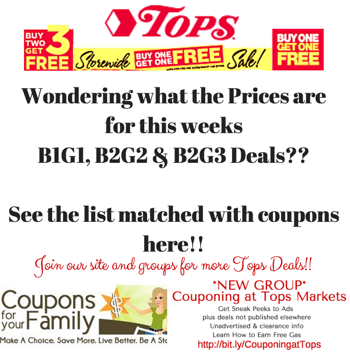 Full List of Tops B1G1 deals 1/15-1/21:  Tribe Hummus, Mott's Apple Juice, OPA! Dressing & more