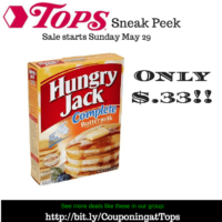 Get Hungry Jack Pancake Mix for only $.33 after Gas Point Savings at Tops starting May 29!