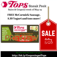 Tops SNEAK PEEK Deals starting May 29: Free McCormick Gril Mate Sausage, $.10 Yogurt, $.79 Eggs, cheap Luvs Diapers and more